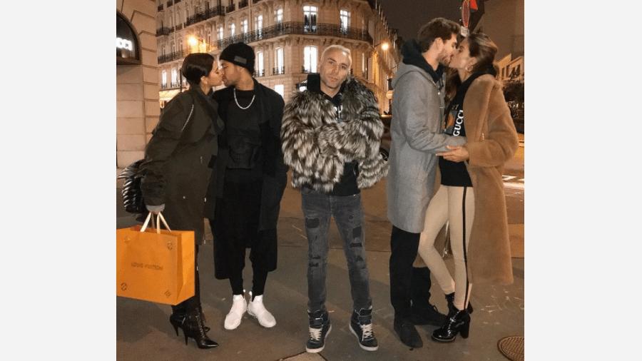 Matheus Mazzafera entre os casais Bruna Marquezine e Neymar e Izabel Goulart e Kevin Trapp - Reprodução/Instagram