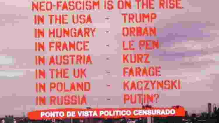 """Após incluir Jair Bolsonaro em lista de políticos neofascistas, Waters exibe nome """"censurado"""" - Reprodução - Reprodução"""