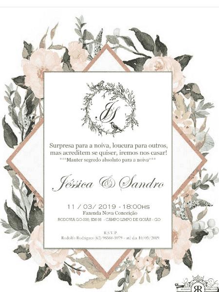 Convite de casamento de Jéssica Costa e Sandro Pedroso - Reprodução - Reprodução