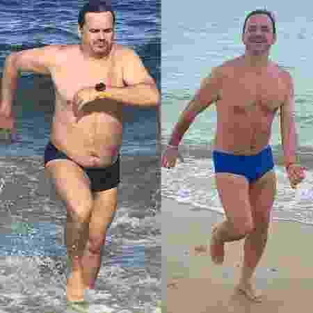 O humorista Carioca fez uma montagem com uma foto do início do ano, quando pesava 100 kg, e outra após perder 11 kg - Arquivo pessoal