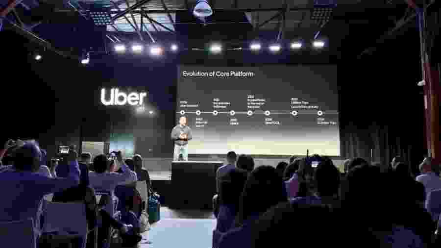 Dara Khosrowshahi, CEO da Uber, durante evento da plataforma nos Estados Unidos - Rodrigo Trindade/UOL