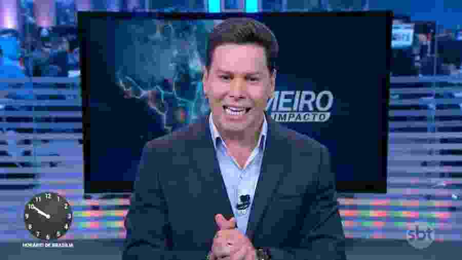 """Marcão do Povo voltou a apresentar o """"Primeiro Impacto"""" nesta segunda-feira (18) - Reprodução?SBT"""
