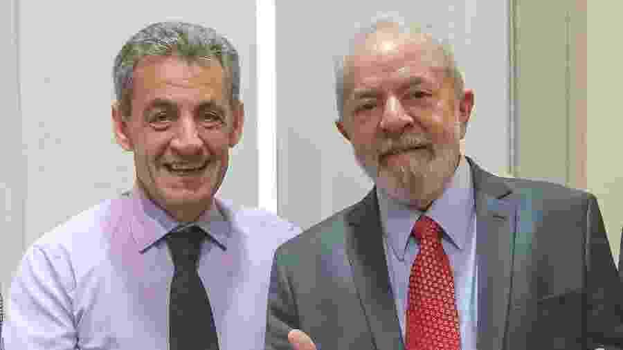 Os ex-presidentes da França, Nicolas Sarkozy, e do Brasil, Lula - Reprodução/Twitter