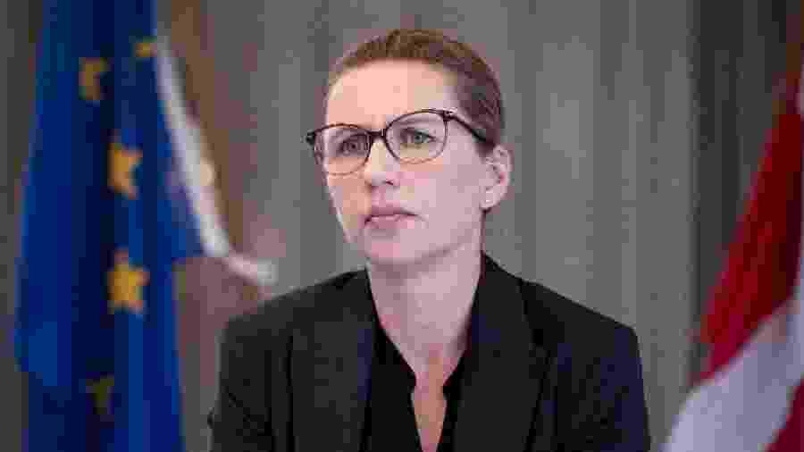 Mette Frederiksen, premiê da Dinamarca, durante vídeo conferência com chefes de estado da União Europeia - Liselotte Sabroe / Ritzau Scanpix / AFP