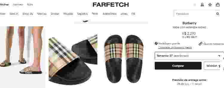 Sandália Burberry - Reprodução/Farfetch - Reprodução/Farfetch