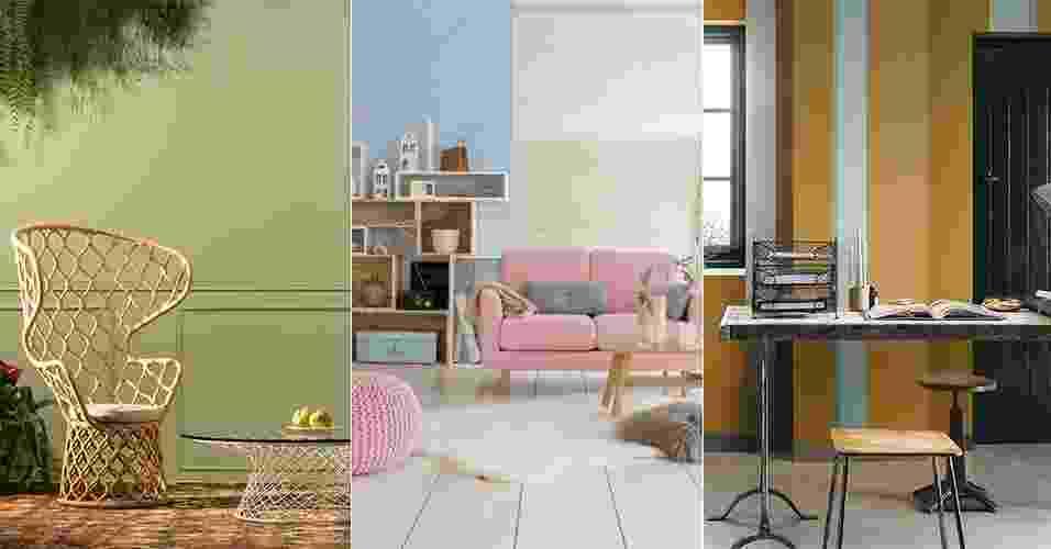 Quer renovar a decoração, mas não sabe como? Que tal mudar as tonalidades de uma parede ou de um móvel? O UOL mostra a seguir dicas de como usar as cores-tendência de 2016 em diferentes cômodos da casa. Veja e dê uma nova cara ao ambiente! - Divulgação/ Montagem UOL