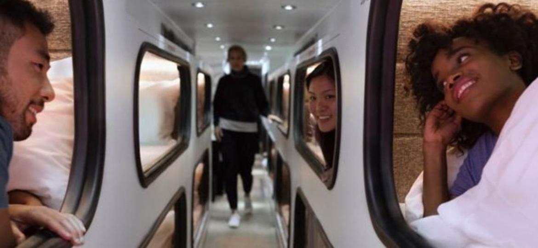 """O """"hotel hipster"""" sobre rodas que pode substituir avião em trajetos médios nos EUA - Divulgação"""