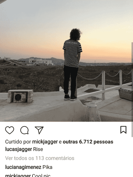 Mick Jagger comenta nas fotos do filho, Lucas - Instagram - Instagram