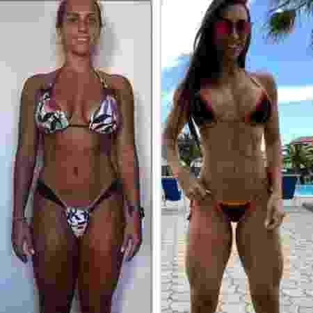 Gabi Dezan aos 27 anos (à esq.) e quatro anos depois de transformar seu corpo com alimentação e exercícios - Arquivo pessoal - Arquivo pessoal