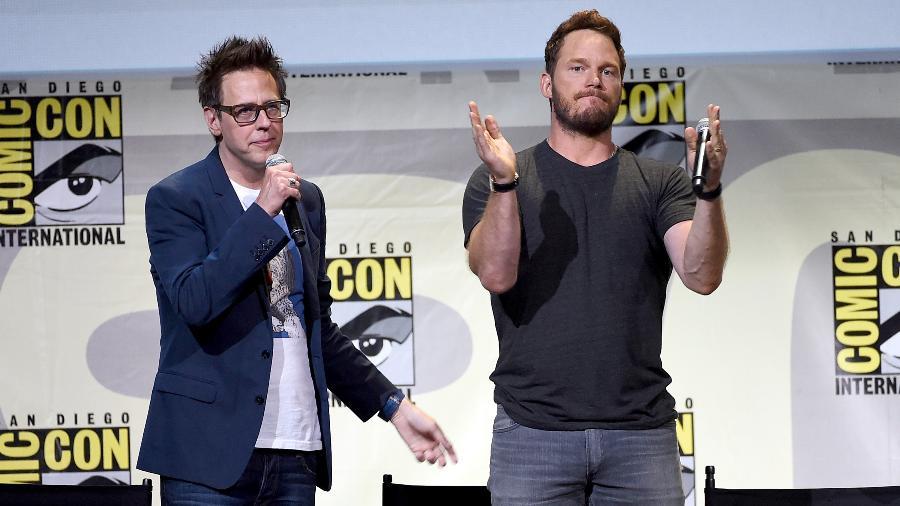James Gunn e Chris Pratt em foto de 2016 na San Diego Comic Con - Kevin Winter/Getty Images