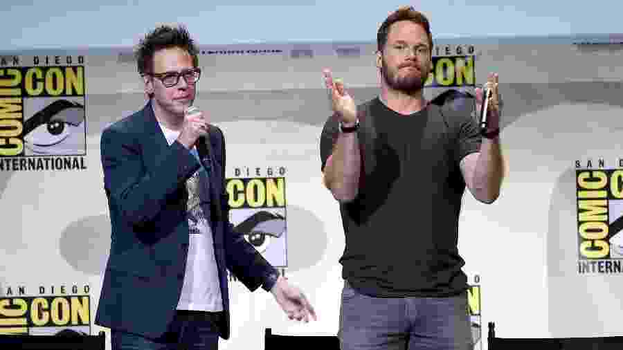 James Gunn e Chris Pratt em foto de 2016 na San Diego Comic Con - Kevin Winter/Getty Images