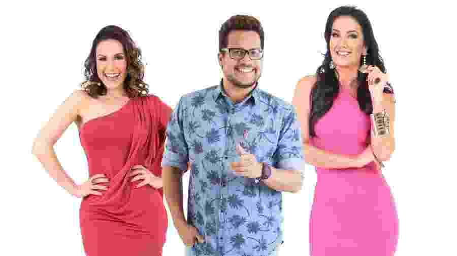 Nadja Haddad, Léo Sampaio e Hellen Ganzarolli serão os apresentadores do SBT Folia em Salvador - Divulgfação/SBT