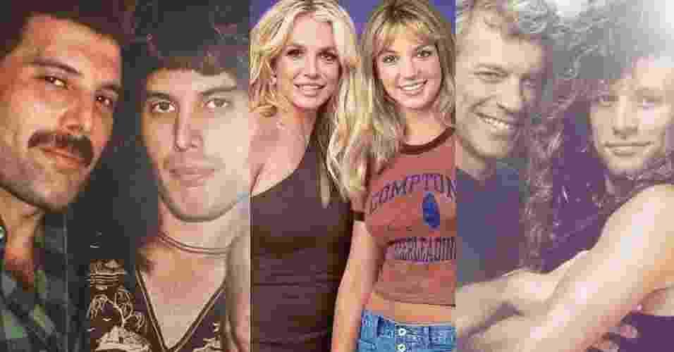 O antes e depois de Freddie Mercury, Britney Spears e Jon Bon Jovi - Reprodução/Montagem/Facebook