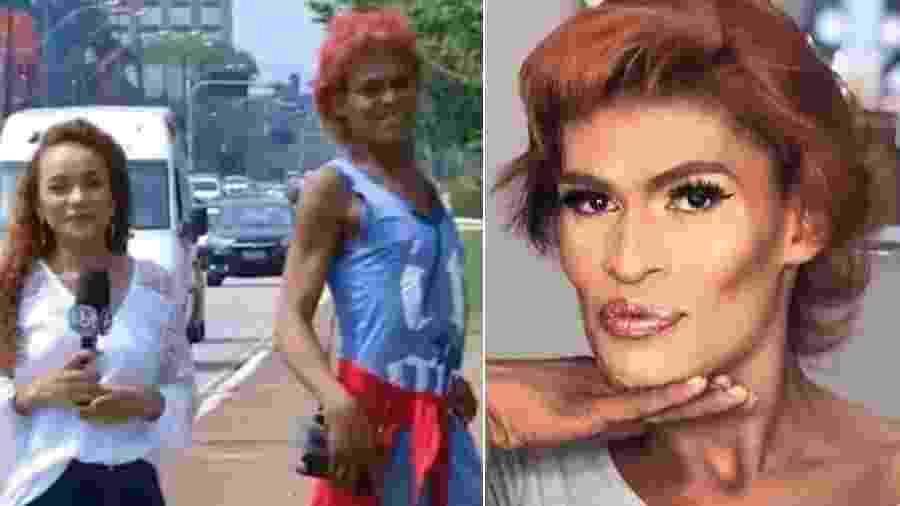"""Moradora de rua que """"desfilou"""" para câmera do SBT em Rondônia ganha """"dia de princesa"""" - Montagem/UOL/Reprodução/TV Allamanda/Instagram/alissonmottamakeup"""