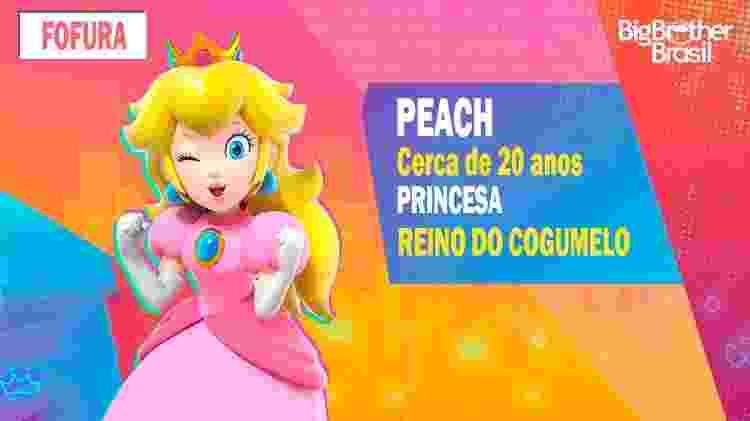 Peach no BBB - Montagem: Allan Francisco / Divulgação (Nintendo) - Montagem: Allan Francisco / Divulgação (Nintendo)