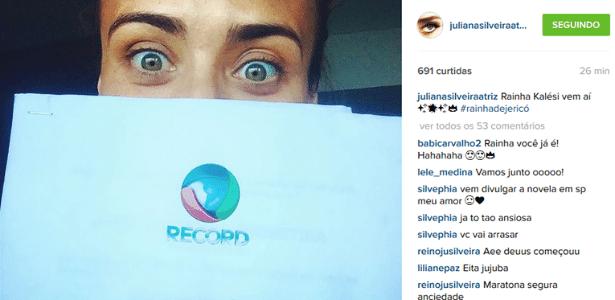 """Juliana Silveira conta a seguidores qual será sua personagem na novela """"A Terra Prometida"""" - Reprodução/Instagram/julianasilveiraatriz"""