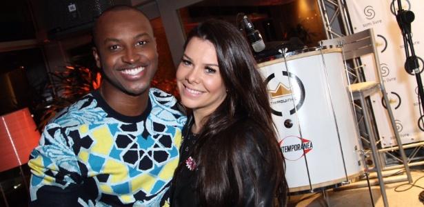 Thiaguinho e a mulher, Fernanda Souza, no lançamento do DVD VamoQVamo no Rio de Janeiro - Anderson Borde /AgNews