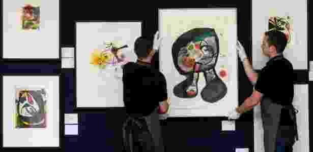 Obras do artista Joan Miró são exibidas em Londres no dia 17 de maio de 2016  - AFP - AFP