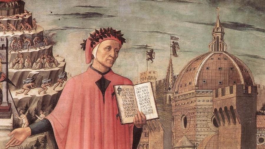 """O poeta italiano Dante Alighieri é retratado em pintura de Domenico Michelino de 1465 com o cenário de sua """"Divina Comédia"""": a cidade de Florença ao lado da montanha do Purgatório - Reprodução"""
