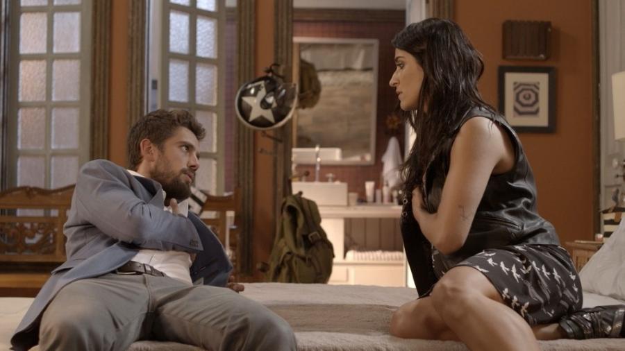 """César (Rafael Cardoso) cai em armadilha de Carol (Maria Joana) em """"Sol Nascente"""" - Reprodução/GShow"""