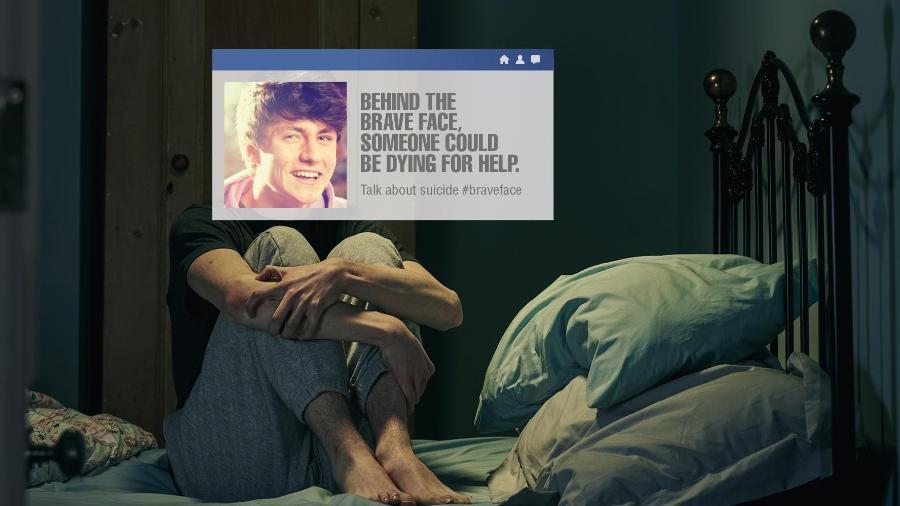 """""""Por trás da cara corajosa, alguém pode estar precisando muito de ajuda""""; um dos flyers da campanha da ONG - Divulgação"""