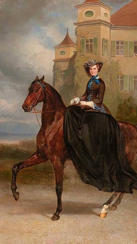 Carl Theodor von Piloty e Franz Adams retrataram a futura imperatriz da Áustria e rainha da Hungria, Isabel da Baviera - Dorotheum/Divulgação