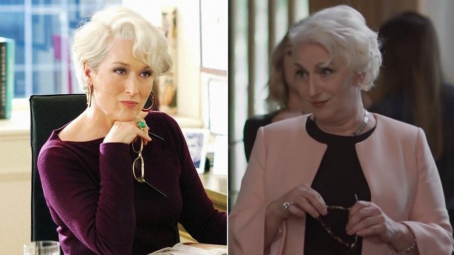 """Meryl Streep em """"O Diabo Veste Prada"""" (2006) e Lu Grimaldi em """"Rock Story"""" - Montagem/UOL"""