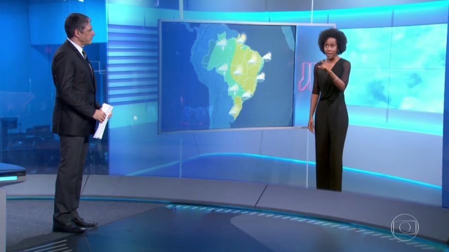 """Maju diz que foi """"xingada"""" por ter trazido chuva durante a previsão do tempo do """"Jornal Nacional"""" - Reprodução/TV Globo"""