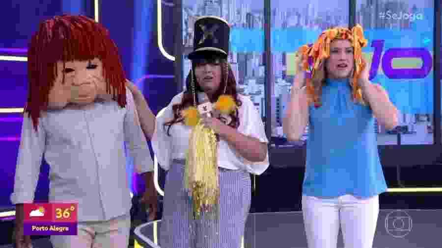 """Érico Brás, Fabiana Karla e Fernanda Gentil """"viram"""" Fofão, Xuxa e Emília no Se Joga - Reprodução/TV Globo"""