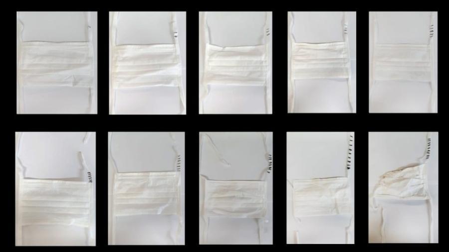 Máscara cirúrgica submetida a ciclos de descontaminação em estufa - Arquivo pessoal/Reprodução/Jornal da USP