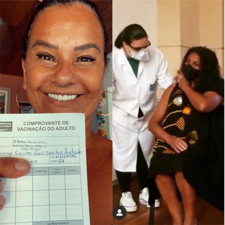 Zezé Mota eSolange Couto tomam primeira dose da vacina contra covid-19 - Reprodução / Instagram