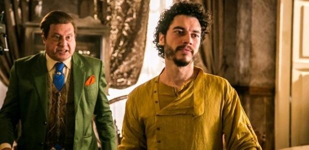 Afrânio (Antonio Fagundes) discute com o filho Martim (Lee Taylor) no primeiro encontro após sua volta - Paulo Belote/Tv Globo