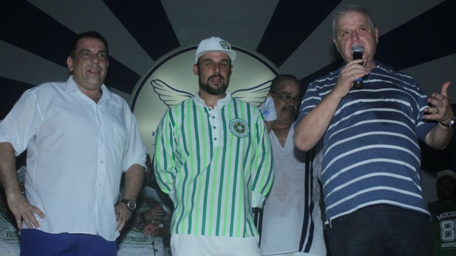 Presidente da Portela Luis Carlos Magalhães (dir) e o presidente da torcida organizada da Mocidade (centro) - Wili Shampoo