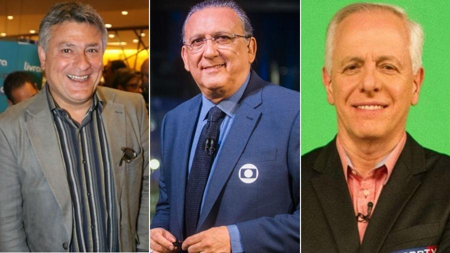 Cléber Machado, Galvão Bueno e Milton Leite - Fotomontagem/UOL