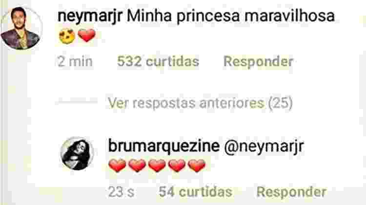 A troca de mensagens entre Bruna Marquezine e Neymar - Reprodução/Instagram - Reprodução/Instagram