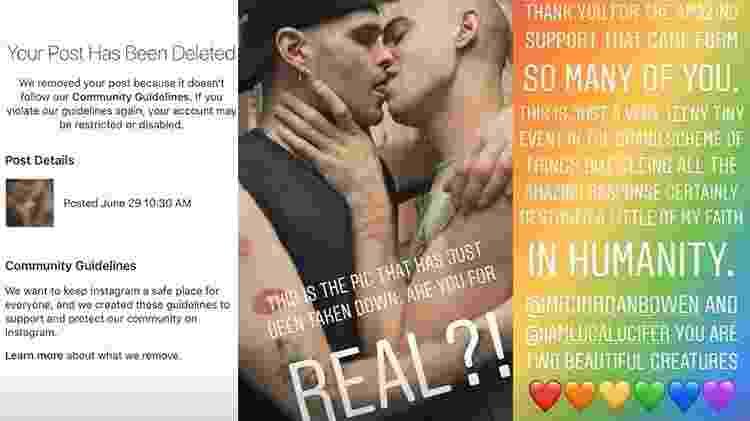 A mensagem do Instagram, a foto deletada e o post de agradecimento ao apoio dos seguidores - Reprodução/Stories Instagram - Reprodução/Stories Instagram