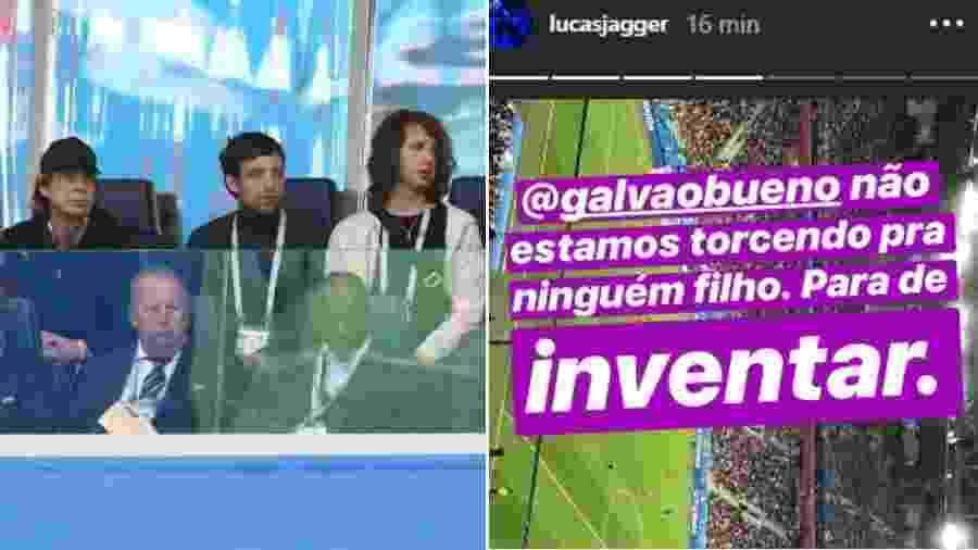 Lucas (na ponta direita) assiste ao jogo com o pai, Mick Jagger, e manda recado a Galvão - Reprodução/Globo//Reprodução/Instagram