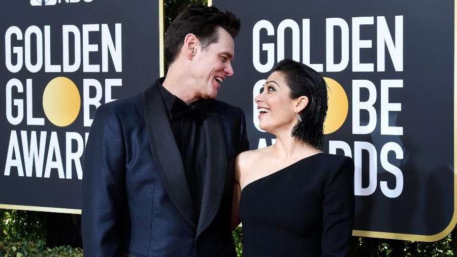 Jim Carrey e Ginger Gonzaga no Globo de Ouro - Frazer Harrison /Getty Images/ AFP