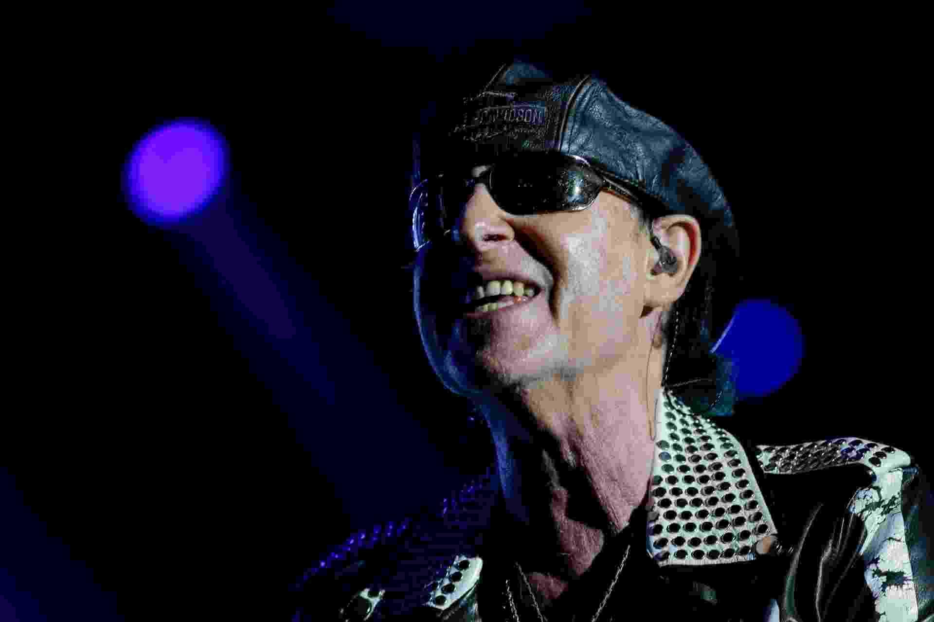 Vocalista do Scorpions, Klaus Meine, durante show no Rock in Rio - Rudy Trindade/FramePhoto/Estadão Conteúdo
