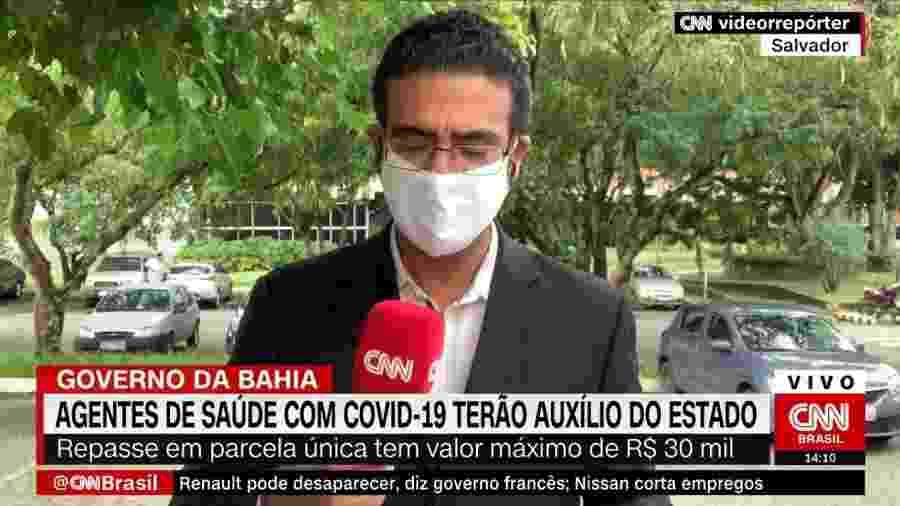 Jhonatã Gabriel noticiava lei que garante auxílio a profissionais da saúde que combate covid-19 na Bahia - CNN Brasil/Reprodução