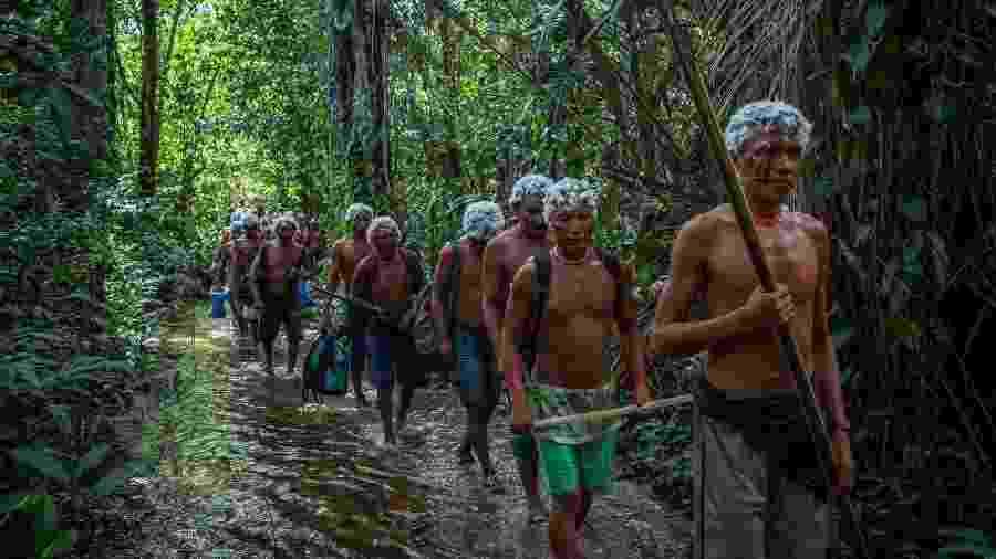 """Os Yanomami em trilha durante o encontro de Lideranças Yanomami e Ye""""kuana, onde os indígenas se manifestaram contra o garimpo em suas terras. O primeiro fórum de lideranças da TI Yanomami foi realizado entre 20 e 23 de novembro de 2019 na Comunidade Watoriki, região do Demini, Terra Indígena Yanomami - Victor Moriyama / ISA/Victor Moriyama / ISA"""