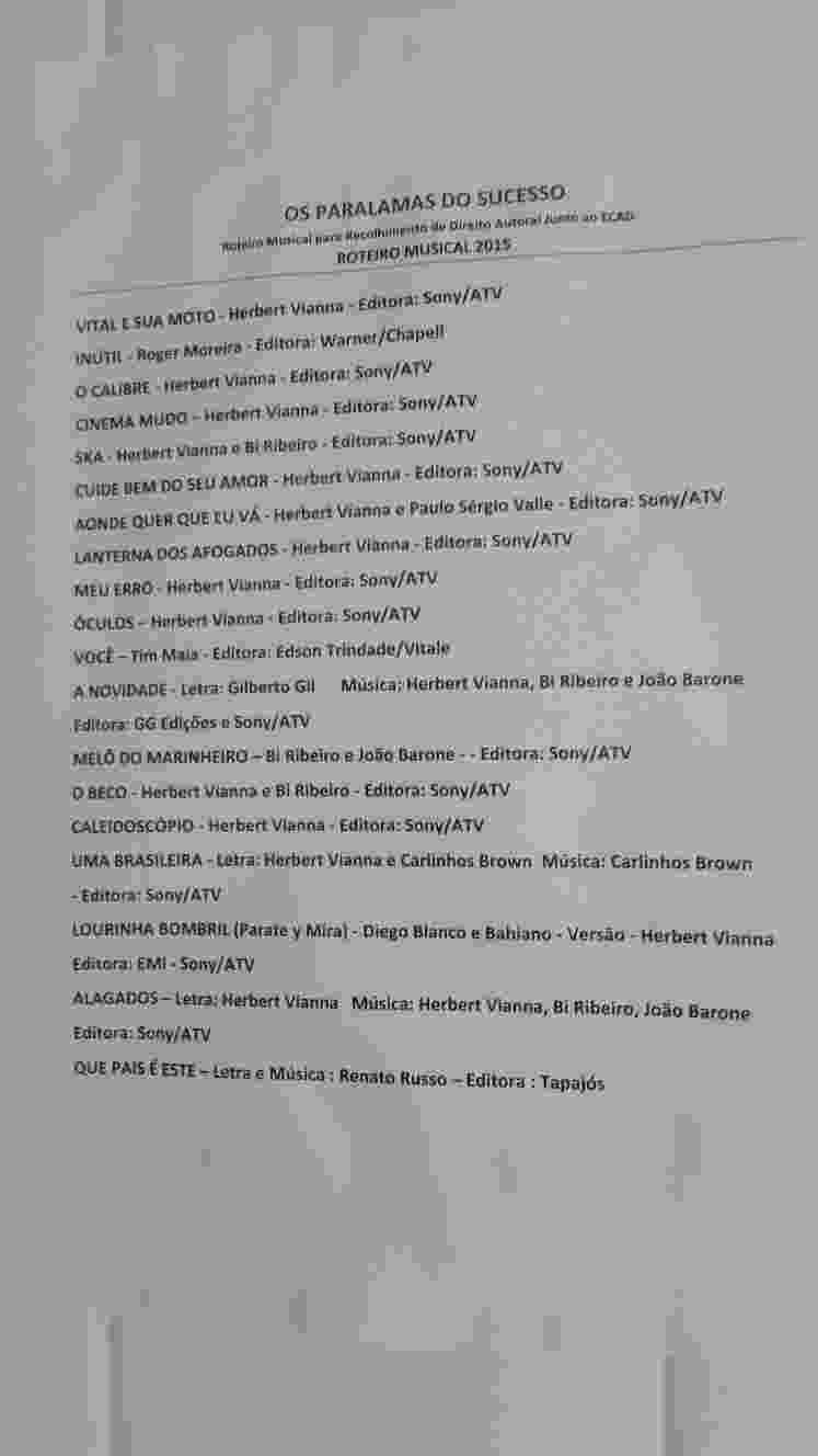 20.set.2015 - Setlist do show dos Paralamas do Sucesso no Palco Mundo do Rock in Rio 2015 - Alexandre Matias/UOL