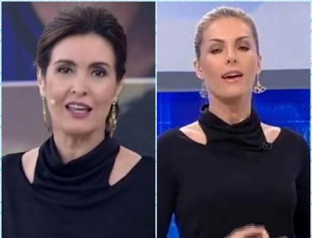 """As apresentadoras Fatima Bernardes e Ana Hickmann usaram roupas parecidas no """"Encontro"""" e no """"Hoje em Dia"""" - Reprodução de TV"""