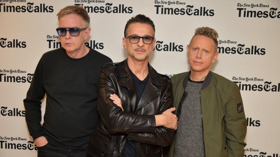 Andy Fletcher, Dave Gahan e Martin Gore, do Depeche Mode - Theo Wargo/Getty Images/AFP