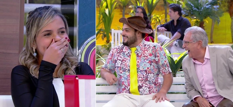 """Namorada de Carlos Alberto de Nóbrega, Renata Domingues aparece em """"A Praça É Nossa"""" - Montagem/Reprodução/SBT"""