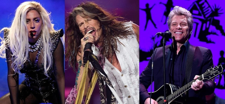 Lady Gaga, Steven Tyler (Aerosmith) e Jon Bon Jovi: atrações do Rock in Rio 2017 - Reprodução/Getty Images/Montagem