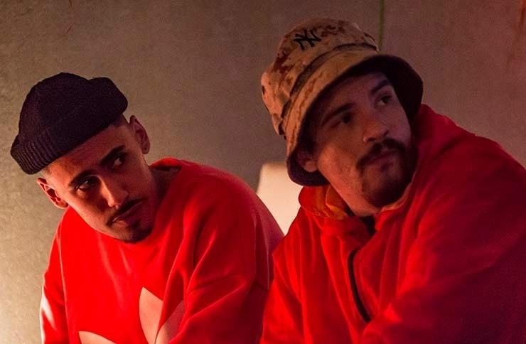 Os rappers Febem e Neto da banda Síntese, em São Paulo