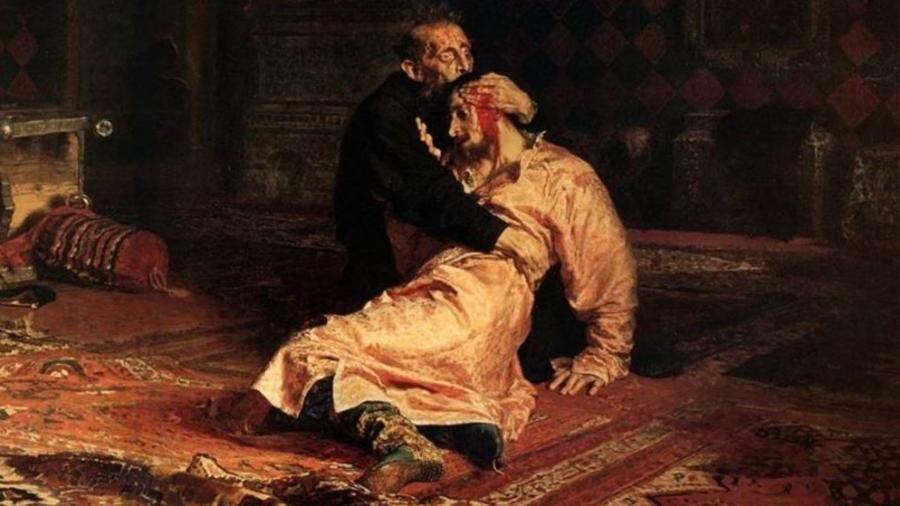 Quadro do pinto Ilia Repin em que representa Ivan, o Terrível matando o próprio filho - Reprodução