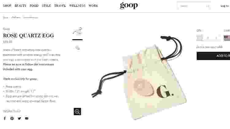 O polêmico ovo vaginal de quartzo rosa vendido no site da Goop, empresa da atriz Gwyneth Paltrow - Reprodução/shop.goop.com - Reprodução/shop.goop.com