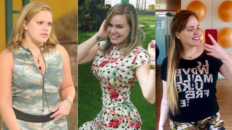 Paula Leitte perdeu 44 quilos, mas engordou 27 deles. Agora, ela luta para voltar a eliminar o excesso de peso - Reprodução/Montagem UOL